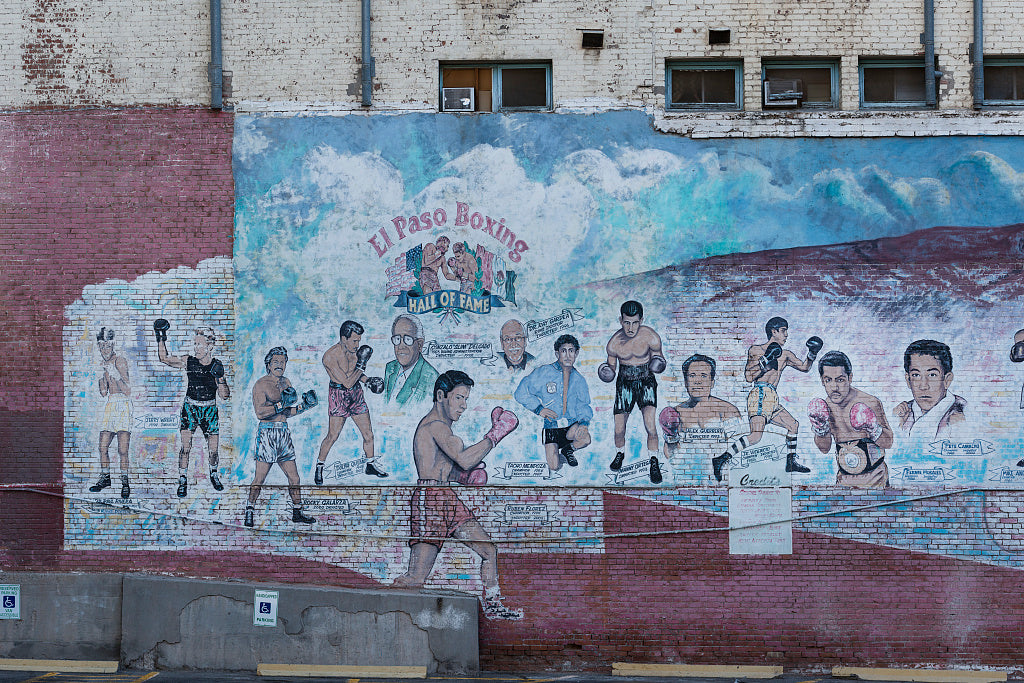 18 x 24 Photograph reprinted on fine art canvas  of The Boxing Hall of Fame mural saluting famous boxers from El Paso on a wall of the De Soto Hotel El Paso Texas  r08 41685 by Highsmith, Carol M.,
