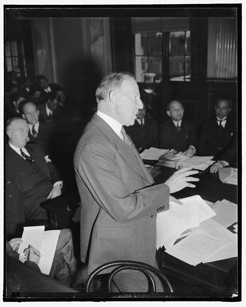 8 x 10 Reprinted Old Photo of Assistant Secretary Of State Before Senate Committee. Washington, D.C., Feb. 21. Appearing Before The Senate Territorial And Insular Affairs Commi 1938 Harris & Ewing 90a