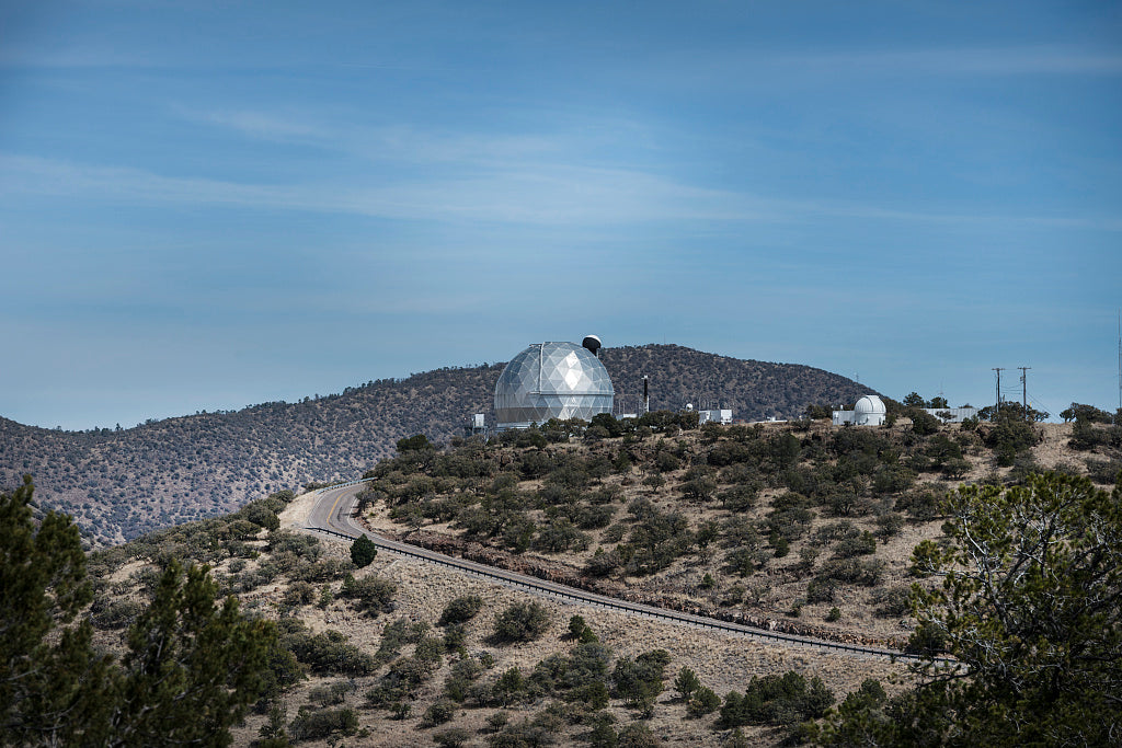 18 x 24 Photograph reprinted on fine art canvas  of Distant view of two facilities at the McDonald Observatory on Mount Locke above the city of Fort Davis in the Davis Mountains of West Texas  r30 41687 by Highsmith, Carol M
