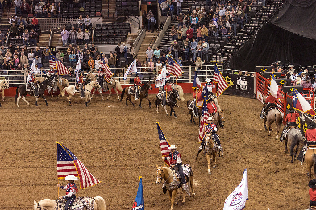 18 x 24 Photograph reprinted on fine art canvas  of Scene from the opening grand parade at the San Antonio Stock Show and Rodeo in San Antonio Texas  r41 41691 by Highsmith, Carol M.
