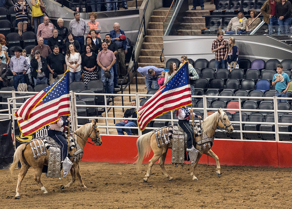 18 x 24 Photograph reprinted on fine art canvas  of Scene from the opening grand parade at the San Antonio Stock Show and Rodeo in San Antonio Texas  r43 41691 by Highsmith, Carol M.