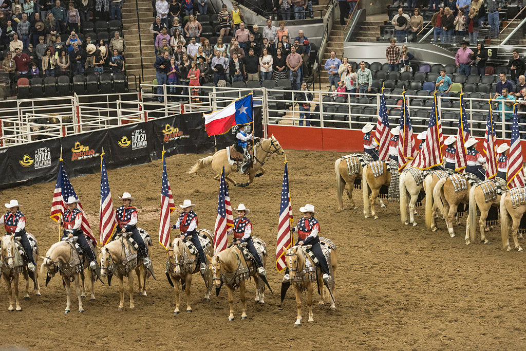 18 x 24 Photograph reprinted on fine art canvas  of Scene from the opening grand parade at the San Antonio Stock Show and Rodeo in San Antonio Texas  r51 41691 by Highsmith, Carol M.