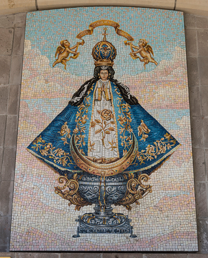 18 x 24 Photograph reprinted on fine art canvas  of Mosaic on the Basilica of Our Lady of San Juan del Valle a Catholic shrine that draws thousands of pilgrims each week to San Juan Texas near McAllen  r93 41711 by Highsmith
