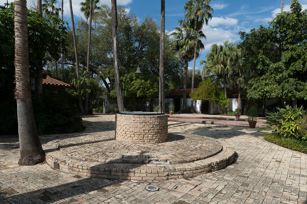 18 x 24 Photograph reprinted on fine art canvas  of Part of the grounds at Quinta Mazatlan a historical adobe mansion and nature and birding center in McAllen Texas  r08 41711 by Highsmith, Carol M.