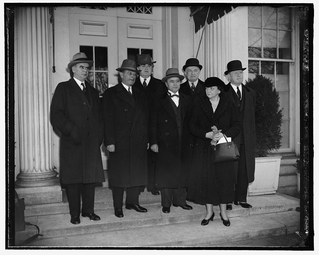 8 x 10 Reprinted Old Photo of Frances Perkins And Group On Steps Of White House 1937 Harris & Ewing 73a