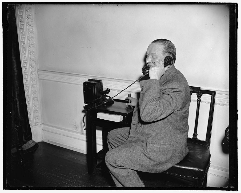 8 x 10 Reprinted Old Photo of Phones Boss. Washington, D.C., March 20. Kurt G. Sell, Washington Correspondent For The German News Bulletin, Phones In His Story Of Undersecretar 1938 Harris & Ewing 18a
