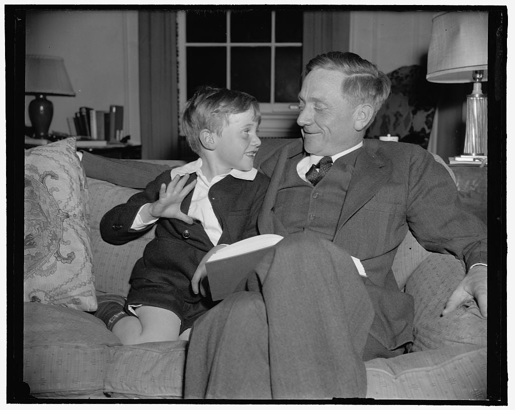 8 x 10 Reprinted Old Photo of That's My Pop! Washington, D.C., March 20. William Douglas, Jr., Is Mighty Proud Of Dad Today Because The President Told Congress That He Wanted H 1938 Harris & Ewing 24a