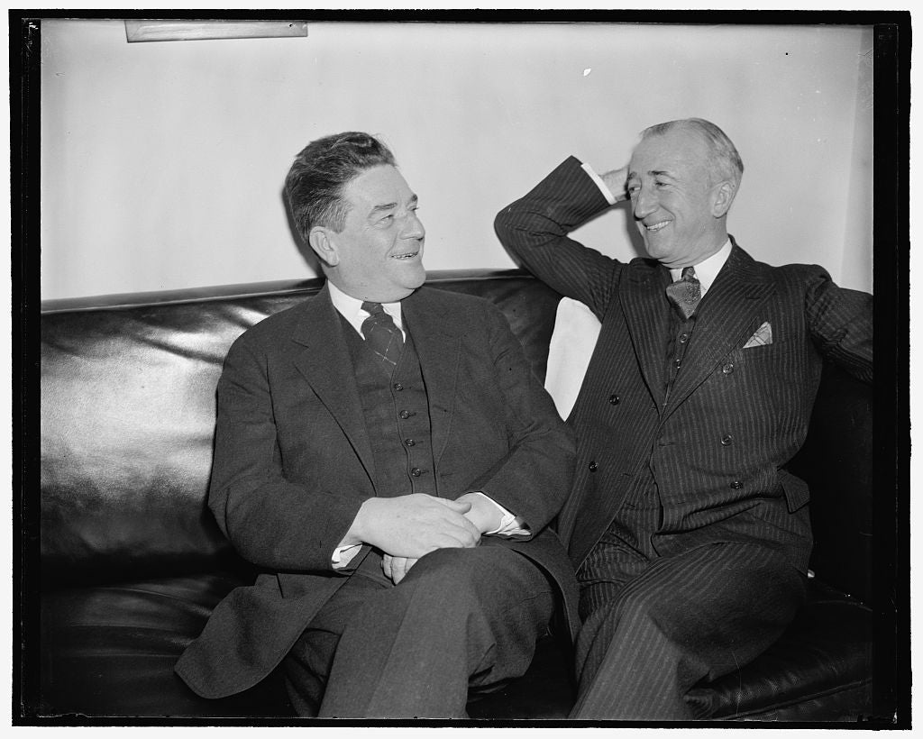 8 x 10 Reprinted Old Photo of Leading Fight For Reorganization. Washington, D.C., March 24. Rep. Lindsay Warren, N.C. And Senator James Byrnes, S.C. Talking Over Problems Of Th 1937 Harris & Ewing 54a