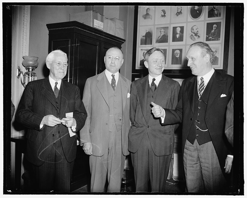 8 x 10 Reprinted Old Photo of Douglas Talks To Chairman Of Committee Which O.K.'D Him This Morning. Washington, D.C., March 27. Supreme Court Appointee William O. Douglas Visit 1937 Harris & Ewing 63a