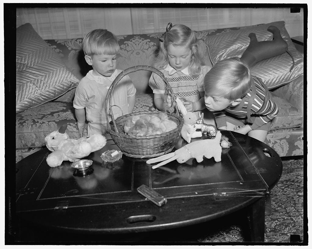 8 x 10 Reprinted Old Photo of Woodring Children Get Preview Of Their Easter Basket. Washington, D.C., April 5. The Woodring Children, Sons And Daughter Of The Secretary Of War  1939 Harris & Ewing 11a