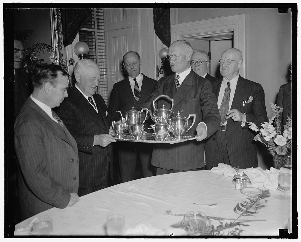 8 x 10 Reprinted Old Photo of Former House Minority Leader Presented Set Of Silver By Republican Congressmen. Washington, D.C., April 5 -Former House Minority Leader Bertrand N 1939 Harris & Ewing 12a
