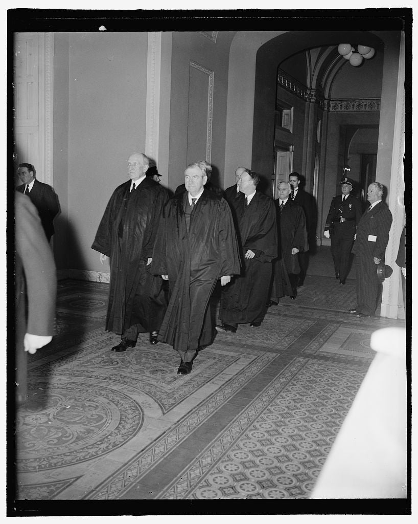 8 x 10 Reprinted Old Photo of Supreme Court Attends Funeral Services For Late Illinois Senator. Washington, D.C., April 12. Members Of The U.S. Supreme Court As They Arrived Fo 1937 Harris & Ewing 57a