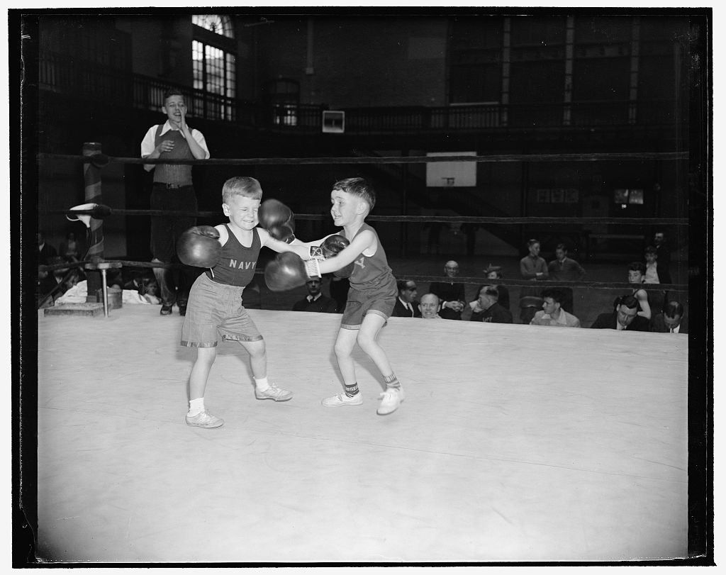 8 x 10 Reprinted Old Photo of A Couple Of Champs Mixing Up. Annapolis, Md., April 15. The Navy Junior Boxing Championships For Sons Of Naval Officers Stationed At The Naval Aca 1938 Harris & Ewing 83a