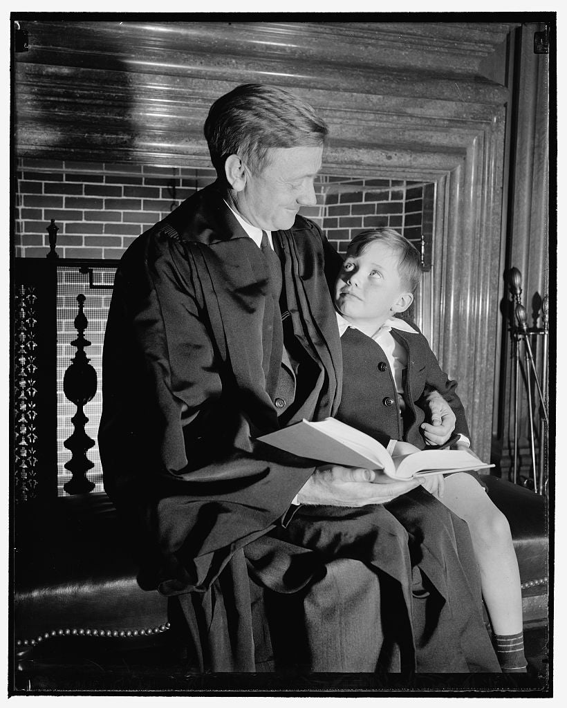8 x 10 Reprinted Old Photo of Daddy' Douglas And Son. Washington, D.C., April 17. William O. Douglas, Jr.,  That His Dad Looks Pretty Nice In His New  As Associate Justice Of T 1938 Harris & Ewing 93a