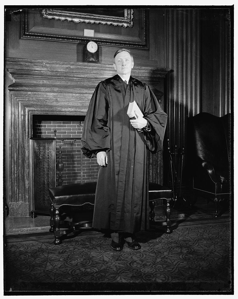 8 x 10 Reprinted Old Photo of Douglas Dons Robes Of Supreme Court Justice. Washington, D.C., April 17. William Orville Douglas, 40 Year Old Successor To Retired Justice Louis D 1938 Harris & Ewing 95a