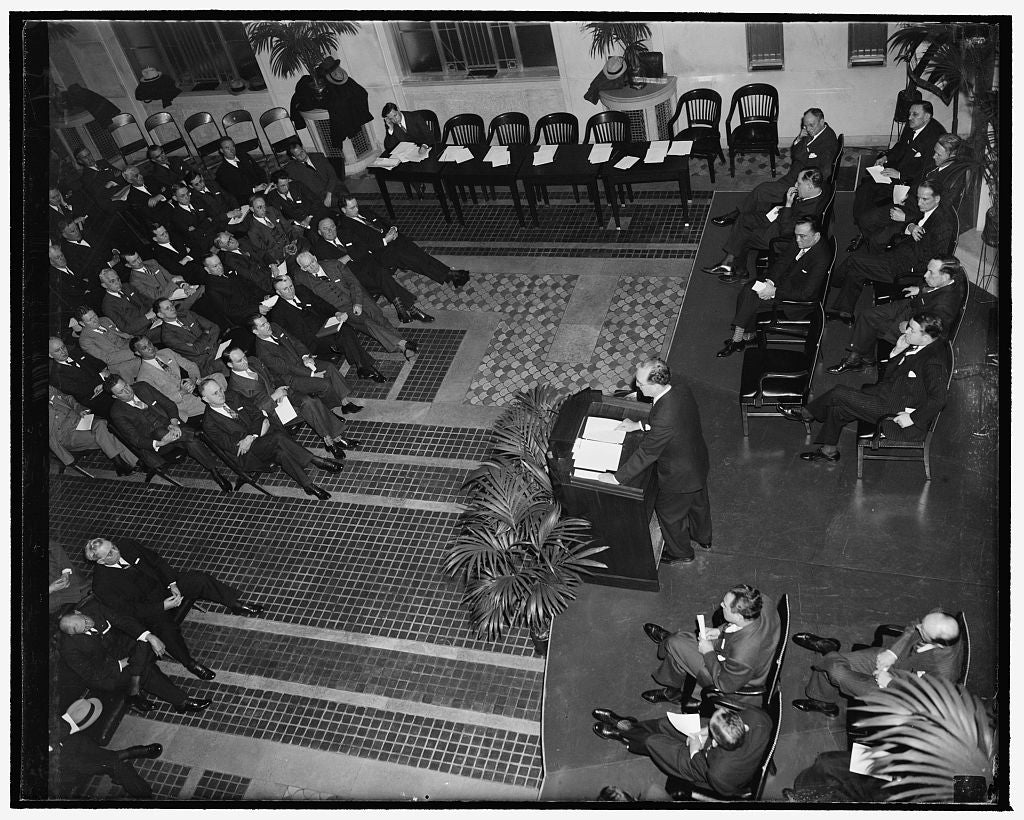 8 x 10 Reprinted Old Photo of Attorney General Addresses U.S. Attorneys. Washington, D.C., April 19. Attorney General Frank Murphy Addressing The Opening Session Of The Attorne 1938 Harris & Ewing 03a