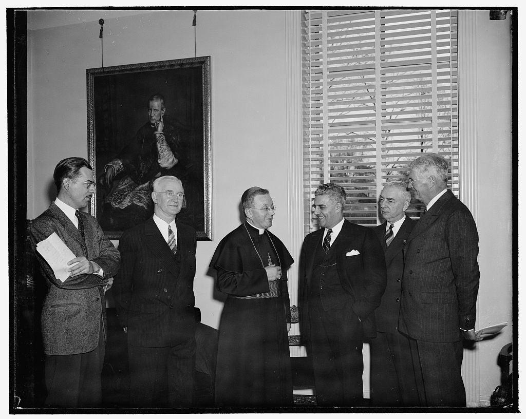 8 x 10 Reprinted Old Photo of Apostolic Delegate Sees Reporters In New Headquarters. Washington, D.C., April 20. The Most Rev. Amleto Giovanni Cicognani, Apostolic Delegate To  1938 Harris & Ewing 16a