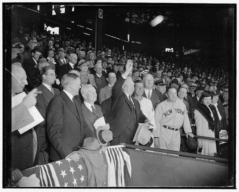 8 x 10 Reprinted Old Photo of The Ball Goes Out And The Game Is On. Washington, D.C., April 21. Baseball Really Isn't Ushered In Until The Ceremony Of Throwing Out The Ball Is  1938 Harris & Ewing 25a