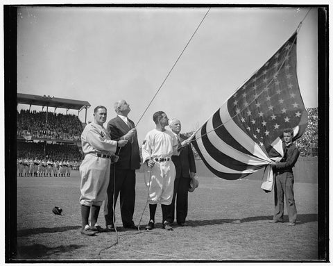 8 x 10 Reprinted Old Photo of Postmaster General Raises Flag And Officially Opens Baseball Season. Washington, D.C., April 21. The Game Can't Start Until The Flag Is Raised Ove 1938 Harris & Ewing 28a