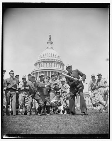 8 x 10 Reprinted Old Photo of House Speaker William B. Bankhead And Baseball Players In Front Of Capitol 1937 Harris & Ewing 33a