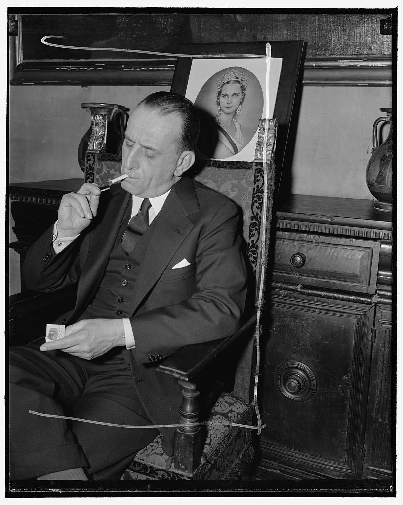 8 x 10 Reprinted Old Photo of Italian Ambassador. Washington, D.C., April 27. The New Italian Ambassador To The United States, Don Ascanio Dei Principi Colonna, From An Informa 1938 Harris & Ewing 58a