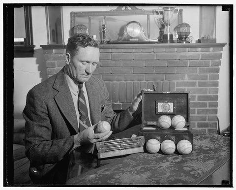 8 x 10 Reprinted Old Photo of Baseballs Autographed By Six Presidents. 'Big Train's' Gift To Baseball Hall Of Fame. Washington, D.C., April 29. Walter Johnson's Contribution To 1938 Harris & Ewing 63a