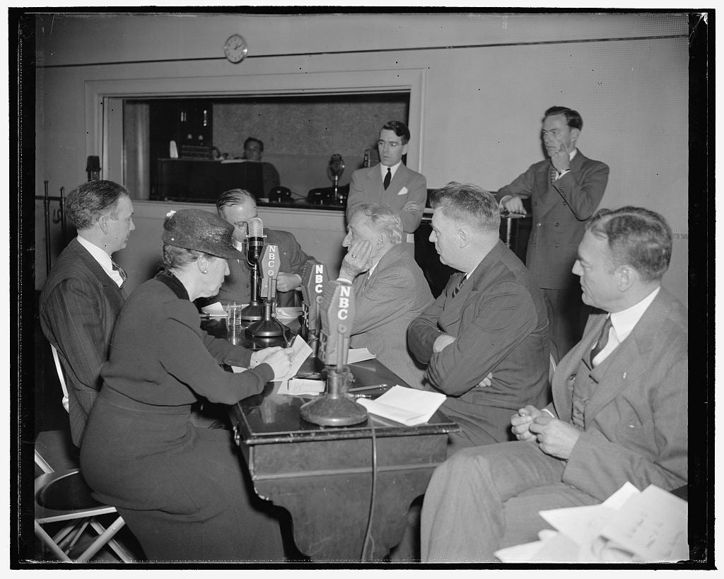 8 x 10 Reprinted Old Photo of Congressmen Take To Air To Discuss Der Fuhrer's Speech. Washington, D.C., April 28. Reaction By Congressmen Was Not Long In Taking Shape This Morn 1938 Harris & Ewing 65a