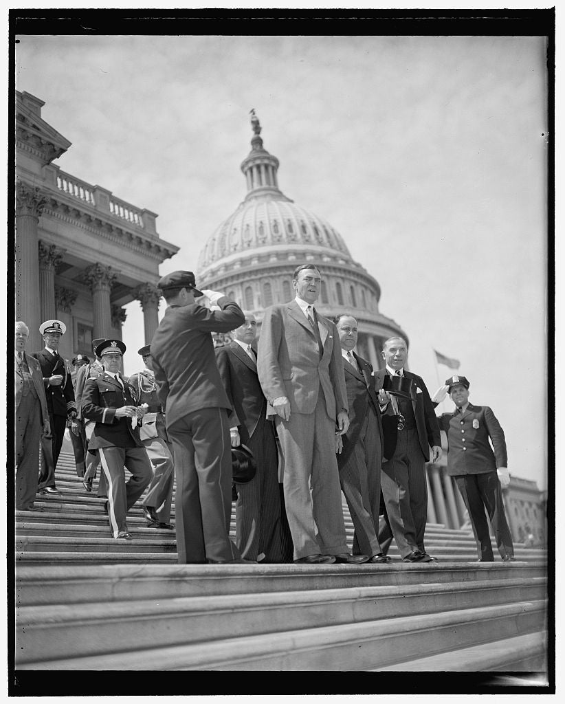 8 x 10 Reprinted Old Photo of President Samoza Leaves Capitol After Tour. Washington, D.C., May 8. Rep. Hamilton Fish, President Anastasia Somoza Of Nicaragua, And Sol Bloom, C 1939 Harris & Ewing 29a