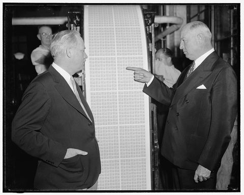 8 x 10 Reprinted Old Photo of First Baseball Stamp Comes Off Press. Washington, D.C., May 26. Postmaster General James. A. Farley Points To The First Batch Of The New Baseball  1938 Harris & Ewing 39a