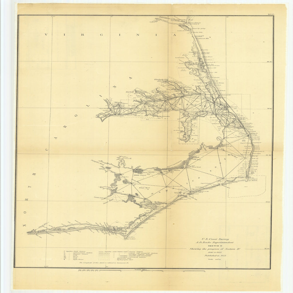 18 x 24 inch 1853 Virginia old nautical map drawing chart of Sketch D Showing the Progress of Section 4 From  U.S. Coast Survey x9566