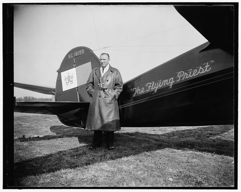 8 x 10 Reprinted Old Photo of Rev. Paul Schulte With Airplane 1937 Harris & Ewing 40a