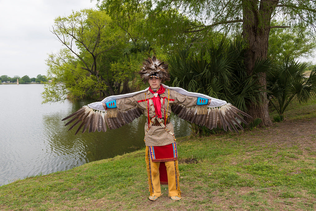 18 x 24 Photograph reprinted on fine art canvas  of Andrew De Luna a dancer at the Celebrations of Traditions Pow Wow an official Native American Pow Wow that is part of the annual month-long Fiesta San Antonio in Texas r69