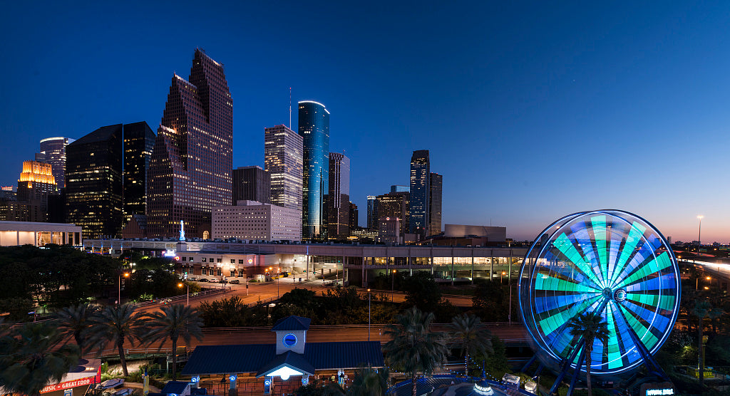 18 x 24 Photograph reprinted on fine art canvas  of Dusk shot of Houston taken from the Downtown Aquarium. The spinning wheel at the right is the aquarium's Ferris wheel r57 41763 by Highsmith, Carol M.