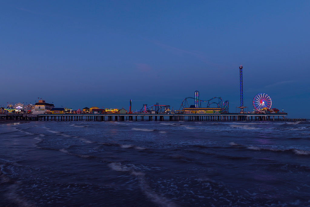 18 x 24 Photograph reprinted on fine art canvas  of Dusk shot of the Galveston Island Historic Pleasure Pier an amusement park in Galveston Texas r59 41765 by Highsmith, Carol M.