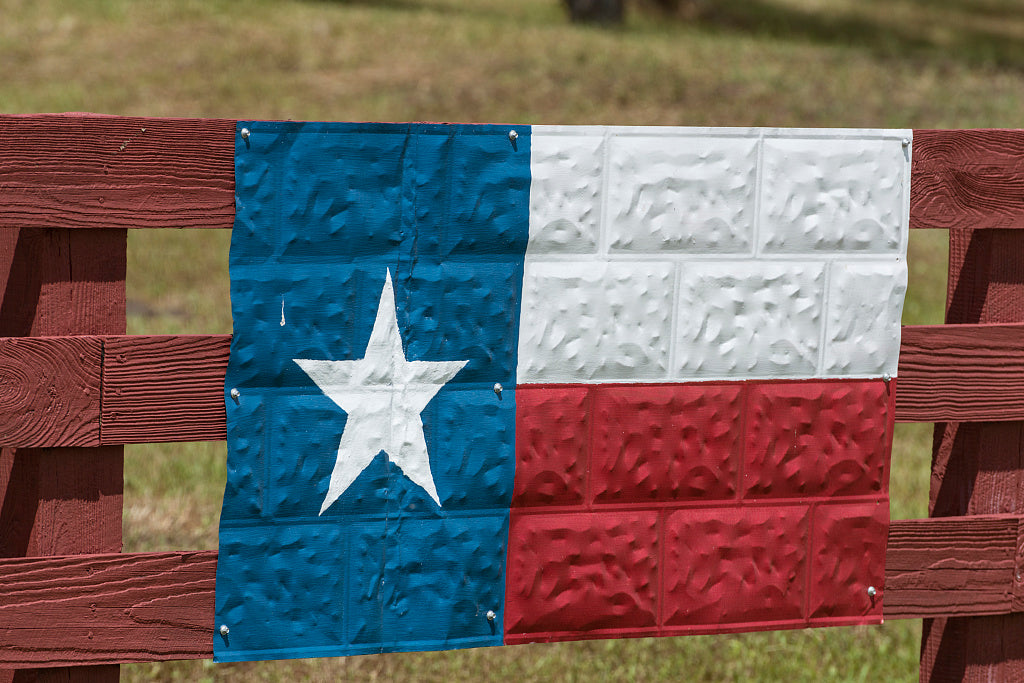 18 x 24 Photograph reprinted on fine art canvas  of A metal version of the Texas Lone Star state flag fashioned on a section of ceiling tin on a ranch fence in Washington County Texas r98 41769 by Highsmith, Carol M.