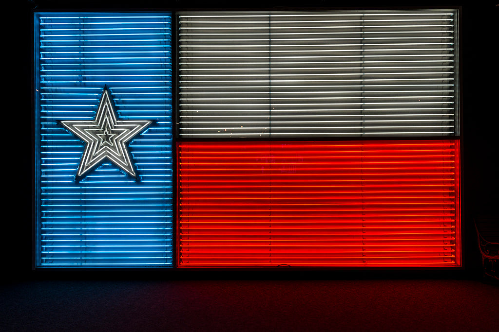 "18 x 24 Photograph reprinted on fine art canvas  of A neon version of the Texas ""Lone Star"" state flag at the Institute of Texan Cultures part of the University of Texas at San Antonio r83 41751 by Highsmith, Carol M."