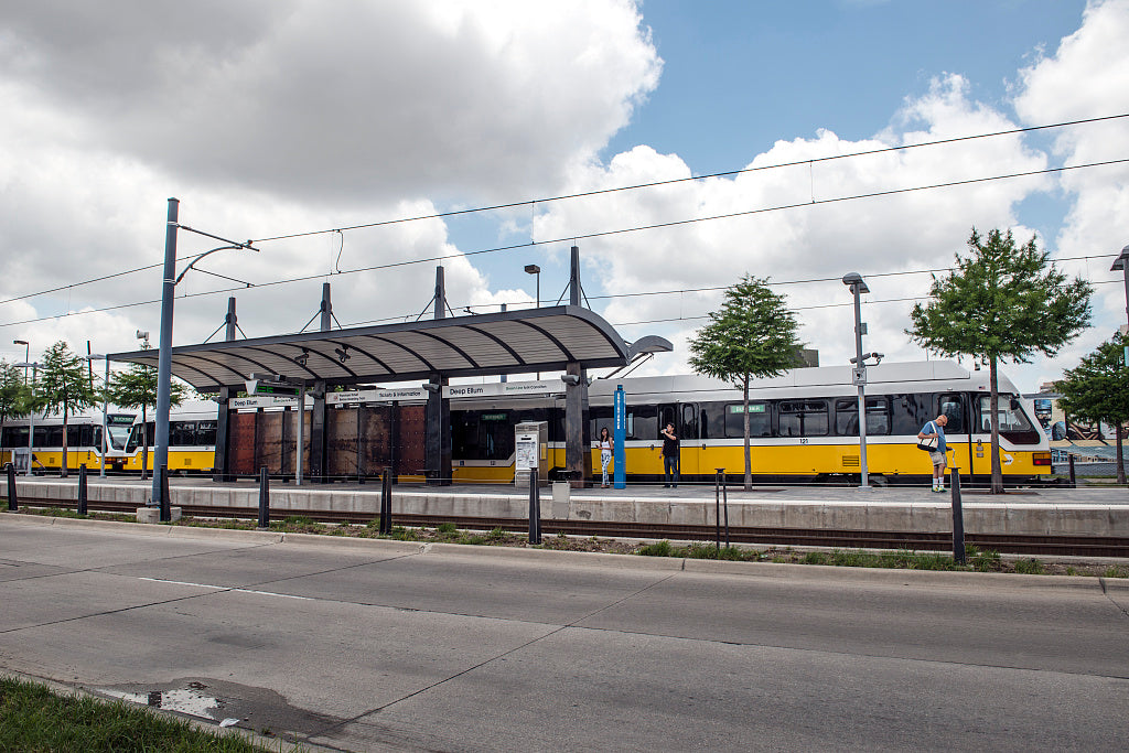 18 x 24 Photograph reprinted on fine art canvas  of A DART Dallas Area Rapid Transit train arrives at the Deep Ellum station in the artistically rich neighborhood of eastern Dallas Texas r98 41783 by Highsmith, Carol M.