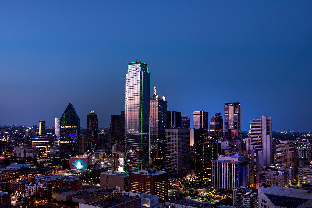 18 x 24 Photograph reprinted on fine art canvas  of Dusk view of the Dallas skyline taken from the city's Reunion Tower r46 41770 by Highsmith, Carol M.