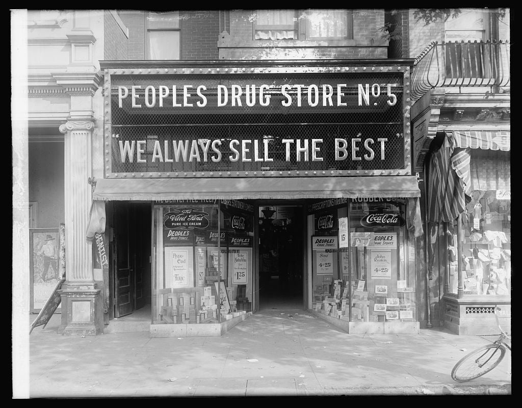 8 x 10 Reprinted Old Photo of Peoples Drug Store, 804 8th St., N.E., [Washington, D.C.] 1921 National Photo Co  13a