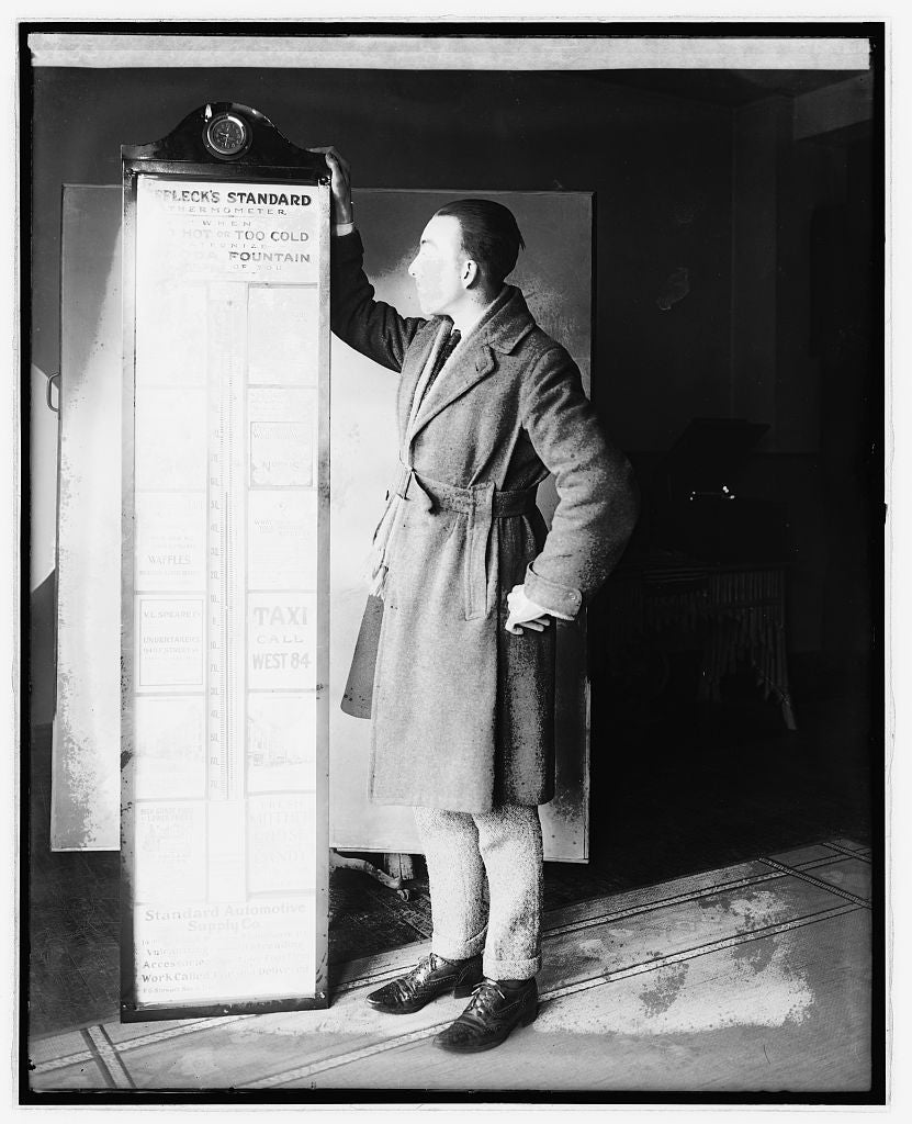 16 x 20 Reprinted Old Photo ofBob Marrion & thermometer 1921 National Photo Co  55a