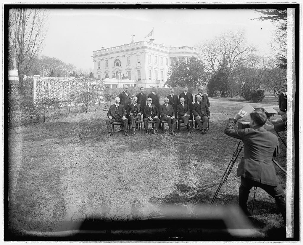 16 x 20 Reprinted Old Photo ofHarding Cabinet group, [White House, Washington, D.C., in background 1921 National Photo Co  17a