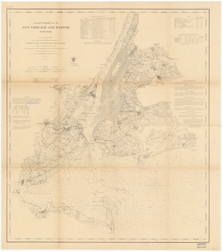 18 x 24 inch 1861 New York old nautical map drawing chart of NEW YORK BAY AND HARBOR, NEW YORK From  US Coast & Geodetic Survey x7046