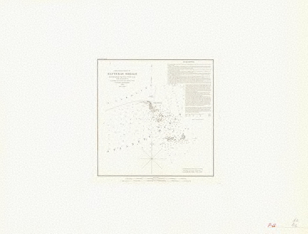 18 x 24 inch 1850 North Carolina old nautical map drawing chart of PRELIMINARY SKETCH OF HATTERS SHOALS From  U.S. Coast Survey x7137