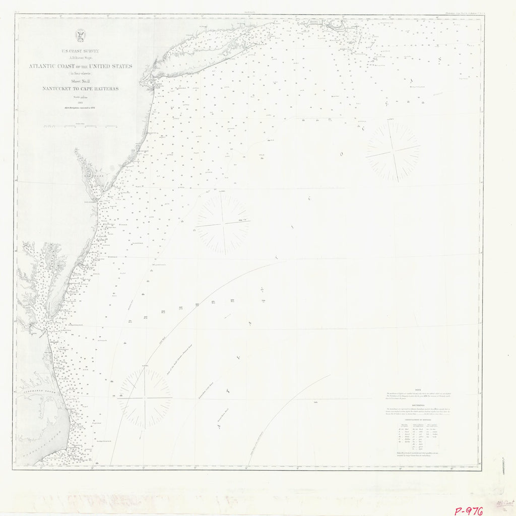 18 x 24 inch 1863 New Jersey old nautical map drawing chart of ATLANTIC COAST OF THE UNITED STATES SHEET TWO NANTUCKET TO CAPE HATTERAS From  U.S. Coast Survey x7451