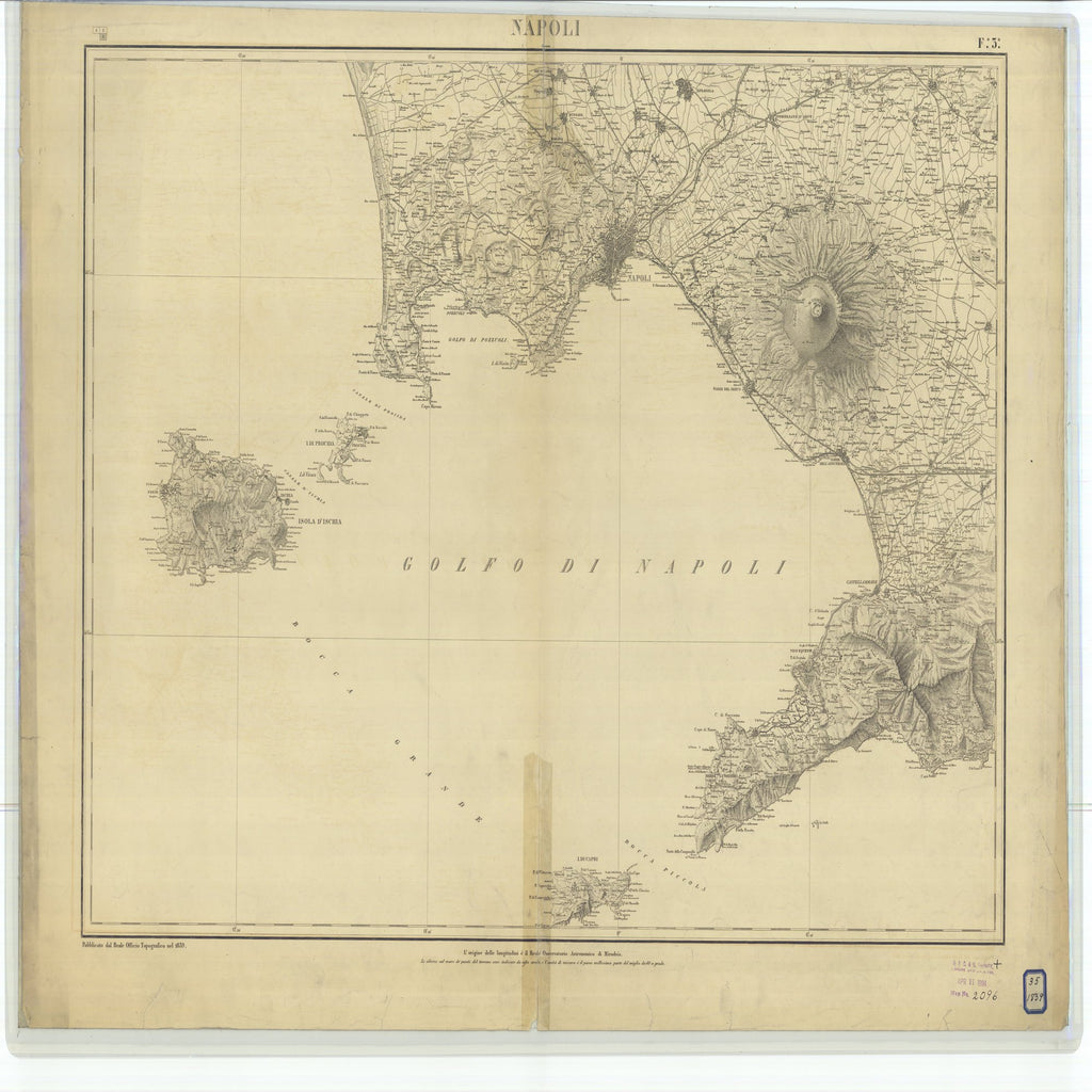 18 x 24 inch 1839 OTHER old nautical map drawing chart of Napoli From  NOAA x7329