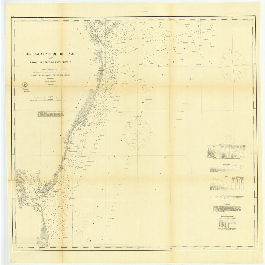 18 x 24 inch 1862 US old nautical map drawing chart of General Chart of the Coast, Number 4 from Cape May to Cape Henry From  U.S. Coast Survey x1912