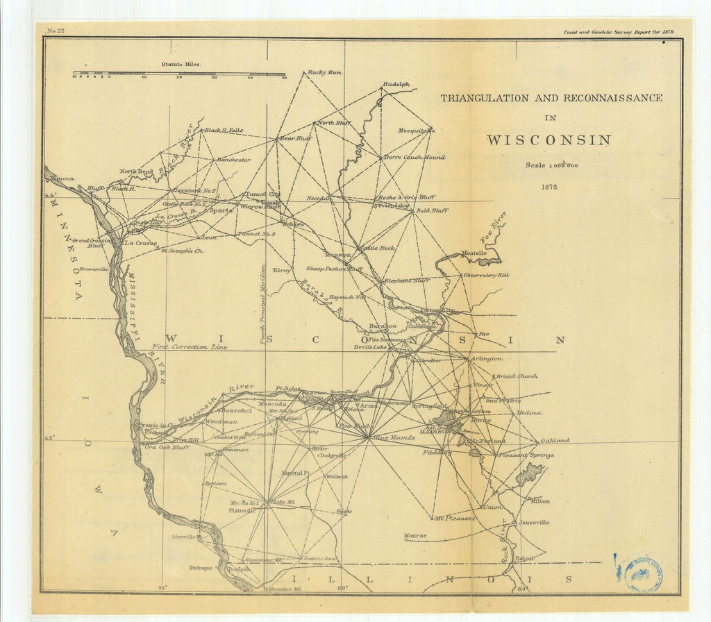 18 x 24 inch 1878 US old nautical map drawing chart of Triangulation and Reconnaissance in Wisconsin From  US Coast & Geodetic Survey x1219