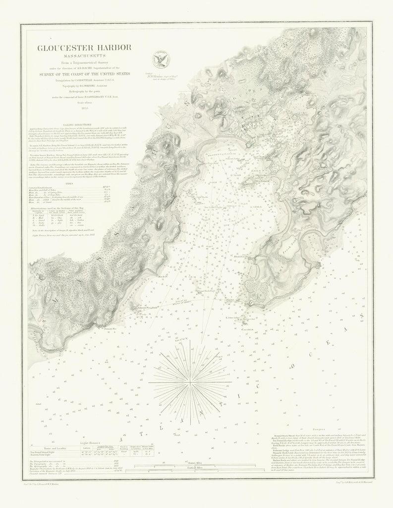 18 x 24 inch 1855 US old nautical map drawing chart of GLOUCESTER HARBOR From  US Coast & Geodetic Survey x2710