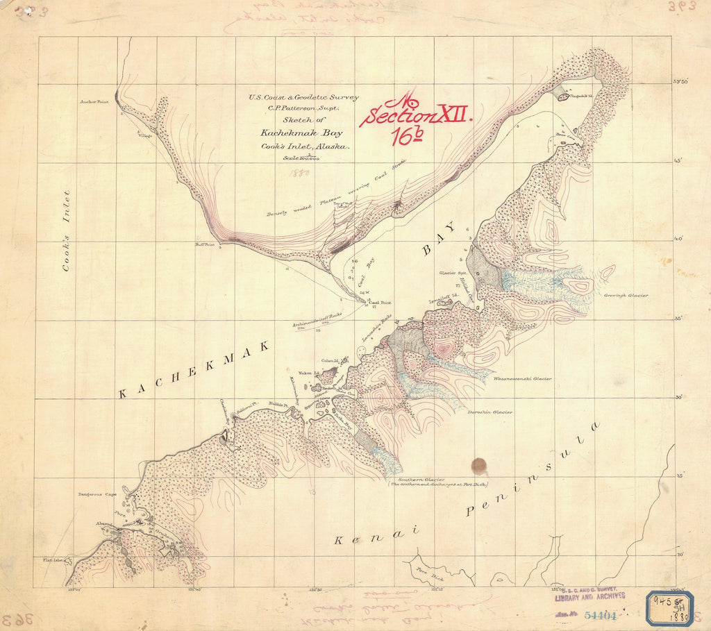 18 x 24 inch 1880 US old nautical map drawing chart of SKETCH OF KACHEKMAK BAY COOKS INLET From  NOAA x2640