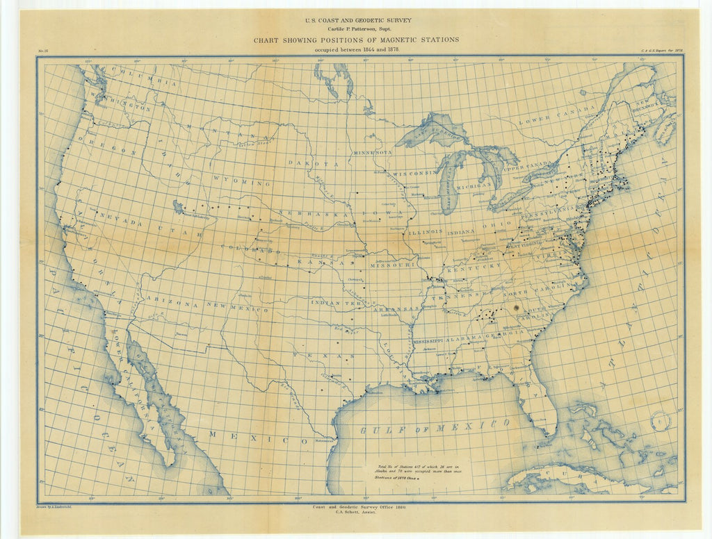 18 x 24 inch 1880 US old nautical map drawing chart of Chart Showing Positions of Magnetic Stations Occupied Between 1844 and 1878 From  US Coast & Geodetic Survey x1867